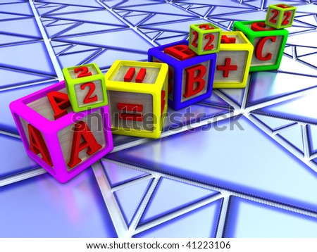 Pythagorean theorem over Triangle shaped tiles - stock photo