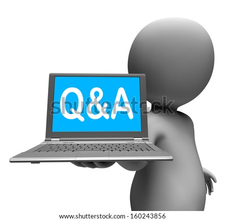 Q&a Laptop Character Showing Questions And Answers Online