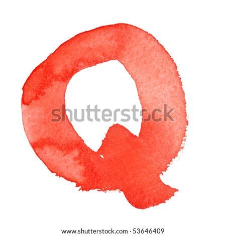 Q - Watercolor letters isolated over the white background