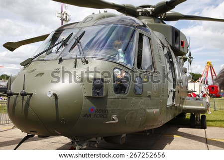 qan RAF Merlin transport helicopter at Waddington Air Display, Lincolnshire, Britain. taken 26/09/2012 - stock photo