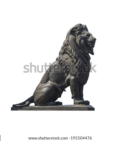 Qasr El-Nile Lion Statue Isolated on White - stock photo