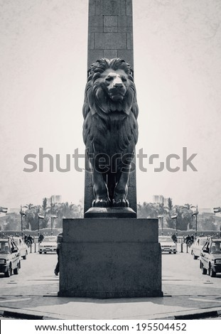 Qast El-Nile Lion Statue at Noon - stock photo