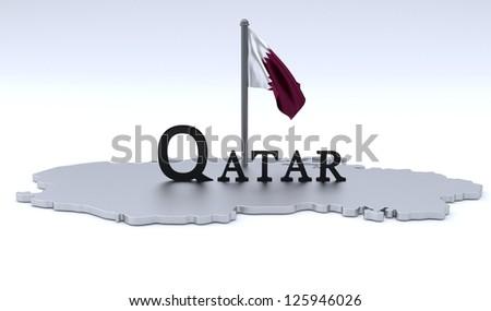 Qatar map - stock photo
