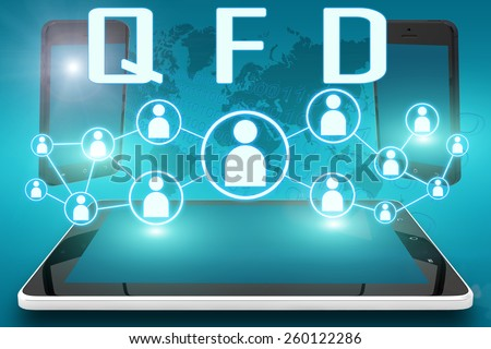 QFD - Quality Function Deployment - text illustration with social icons and tablet computer and mobile cellphones on cyan digital world map background - stock photo