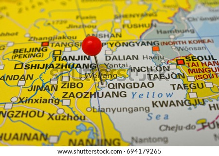 Qingdao Marked On Map Red Pin Stock Photo Royalty Free 694179265