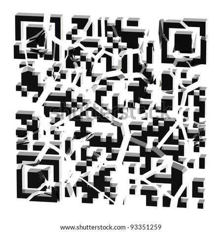 QR code broken into black pieces isolated on white - stock photo