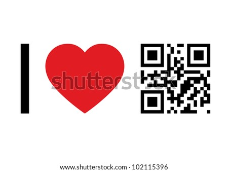 QR Code design concept 'I Love QR Code'. Raster version. - stock photo