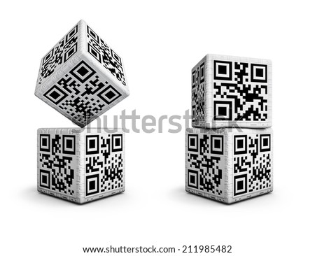 QR code dice with codes for numbers 1 through 6 on sides
