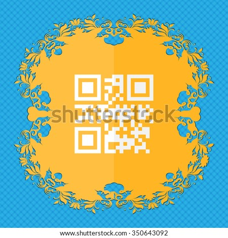 Qr code. Floral flat design on a blue abstract background with place for your text. illustration - stock photo
