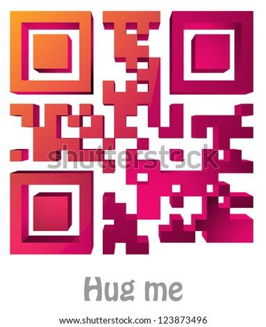 "QR Code of ""Hug me"" - stock photo"