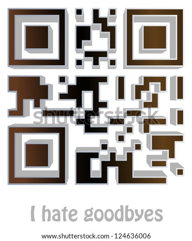 """qr code of """"I hate goodbyes"""" - stock photo"""