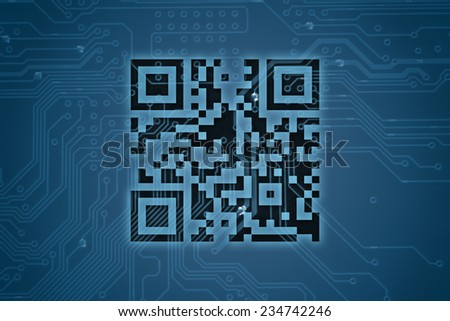 QR code on digital background  - stock photo