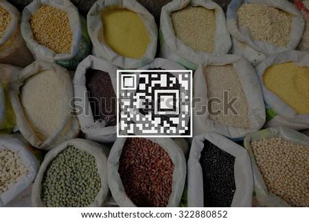 QR Code Price Tag Coding Encryption Label Merchandise Concept - stock photo