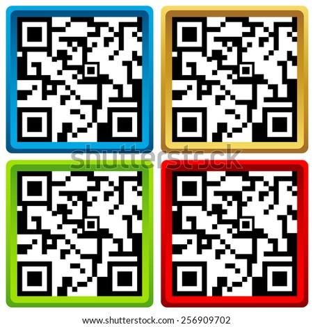 QR code set for smart phone - stock photo