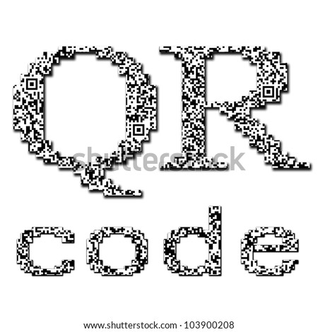 QR code textured text isolated on white