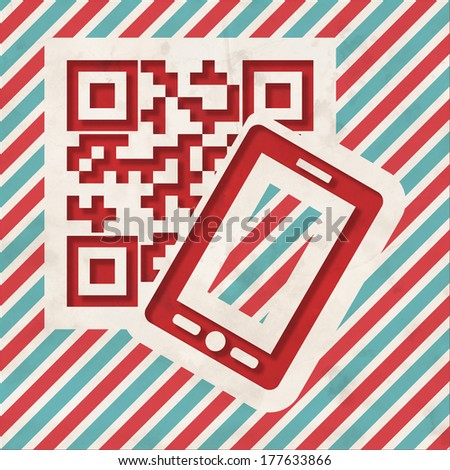 QR Code with Smartphone Icon on Red and Blue Striped Background. Vintage Concept in Flat Design. - stock photo