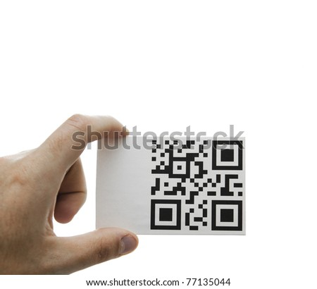 qr hand message - stock photo