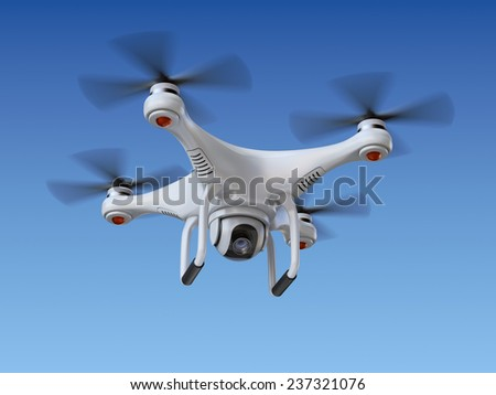 Quadrocopter drone with the camera - stock photo