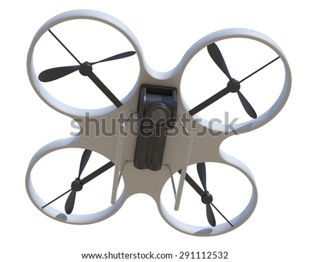 quadrocopter on a white background - stock photo