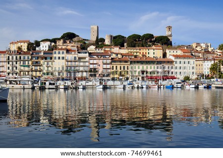 Quai Laubeuf at le Suquet. This is the old quarter of Cannes. At the end of the Laubeuf car park, there is a boat service to Lerins islands. - stock photo
