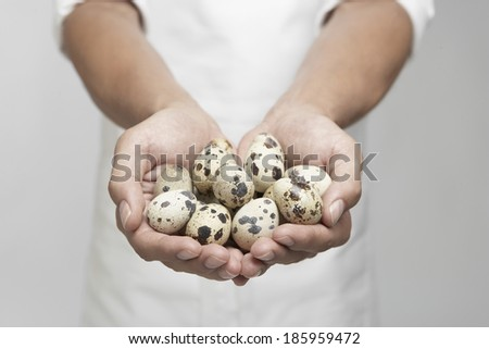 Quail eggs on chef's hands (mid section)