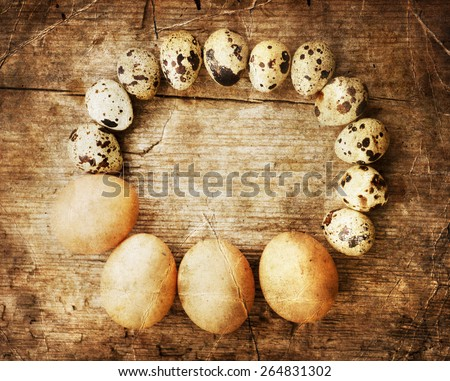Quail eggs on the wooden table, Easter decorated with willow and brown eggs - stock photo