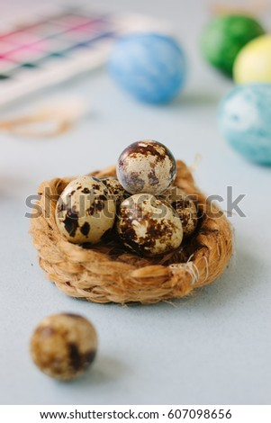 Quail eggs over bright background for easter celebration