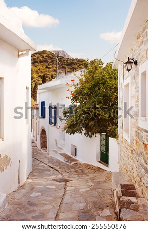 Quaint Street in the Village of Filoti,  Naxos Island, Greece. - stock photo