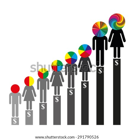 Qualification and Career. Earned income depending on the skills and experience - stock photo
