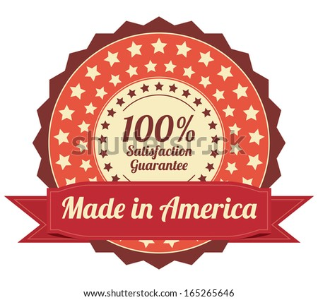 Quality Assurance and Quality Management Concept Present By Orange Vintage Style Icon or Badge With Red Ribbon Made in America 100 Percent Satisfaction Guarantee Isolated on White Background  - stock photo