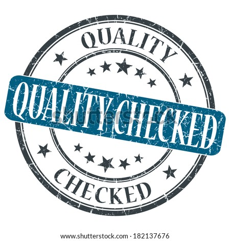 Quality Checked blue grunge round stamp on white background - stock photo