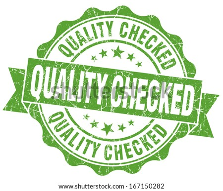 Quality checked grunge green vintage round isolated seal - stock photo