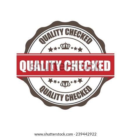 Quality Checked Grunge Rubber Stamp with Crown and Red Ribbon. (Sticker, Tag, Icon, Symbol)  - stock photo