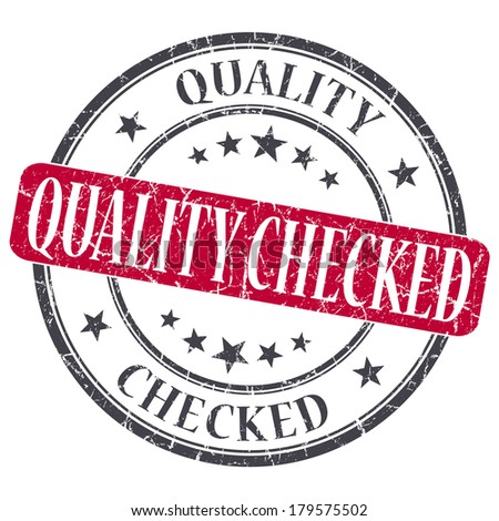 Quality Checked red grunge round stamp on white background - stock photo