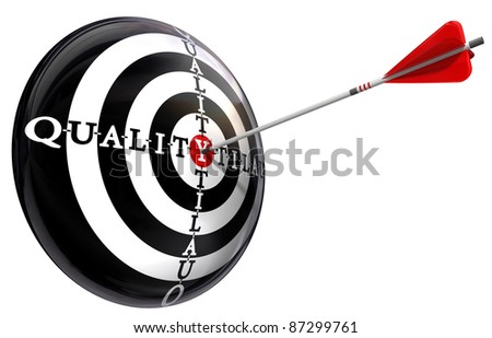 quality concept target isolated on white background