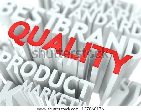 Quality Concept. The Word of Red Color Located over Text of White Color. - stock photo