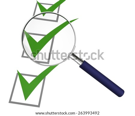 Quality Control. 3D. Check List Review - stock photo