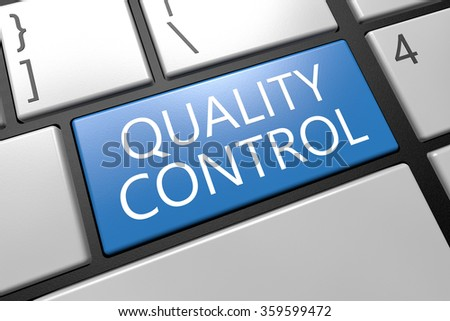 Quality Control - keyboard 3d render illustration with word on blue key - stock photo