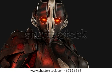 Quality 3d illustration of advanced cyborg character
