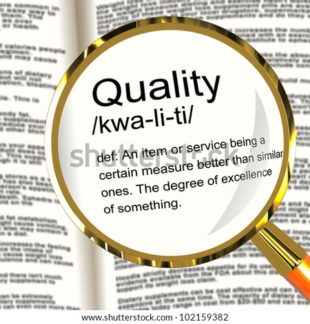 Quality Definition Magnifier Shows Excellent Superior Premium Product - stock photo