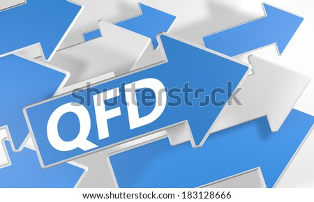 Quality Function Deployment 3d render concept with blue and white arrows flying over a white background. - stock photo