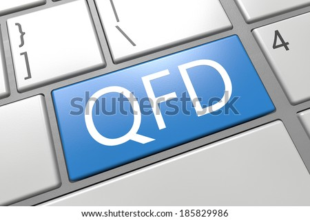Quality Function Deployment - keyboard 3d render illustration with word on blue key
