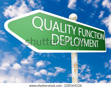 Quality Function Deployment - street sign illustration in front of blue sky with clouds. - stock photo