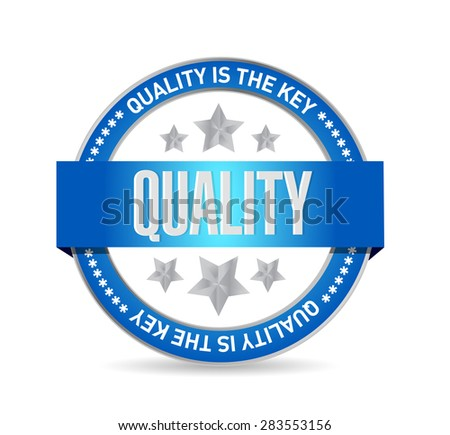 quality is the key seal sign concept illustration design over white - stock photo