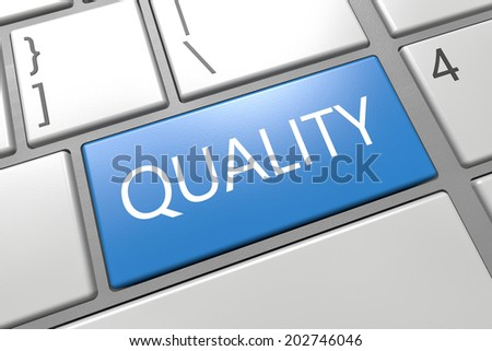 Quality - keyboard 3d render illustration with word on blue key