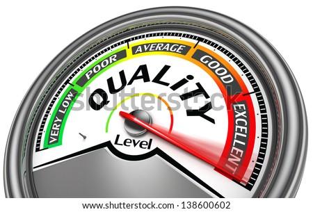quality level meter indicate maximum, isolated on white background - stock photo
