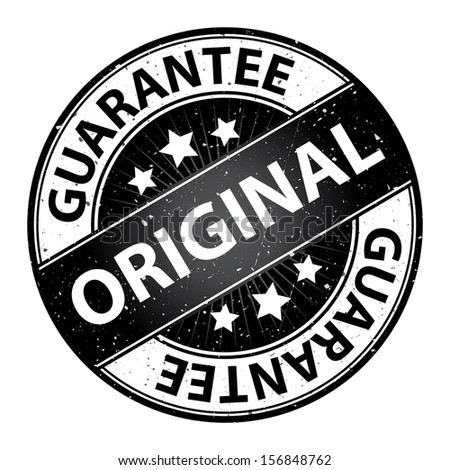 Quality Management Systems, Quality Assurance and Quality Control Concept Present By Original Label on Black Grunge Glossy Style Icon With Guarantee Text Around Isolated on White Background  - stock photo