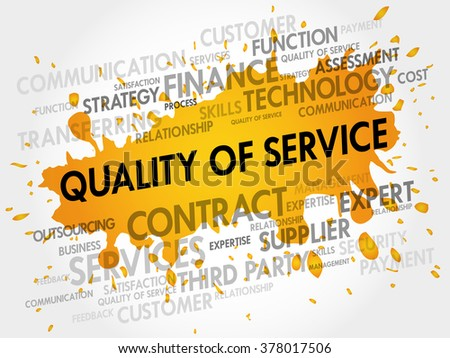 Quality of Service related items word cloud business concept - stock photo
