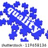 Quality Puzzle Showing Excellence And Premium Products Or Services - stock photo