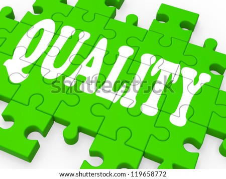 Quality Puzzle Showing Excellent Services And Products - stock photo